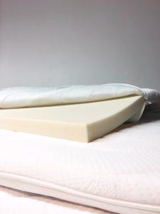 koudschuim topmatras waarbij de hoes is open geritst en het schuim zichtbaar is